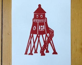 """linocut print """"Beacon"""" size A5"""
