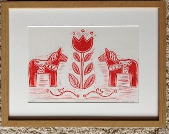 Swedish Dala Horse lino print