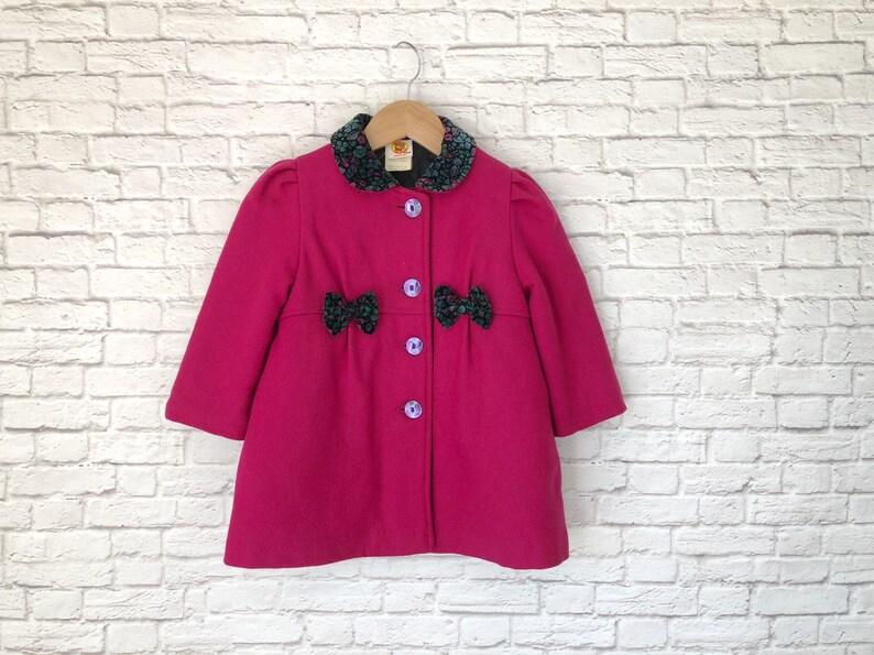 vtg 3T 3 winter coat hat set hot pink Magenta wool blend lined swing coat toddler girl coat velvet collar bows winnie the pooh bonnet