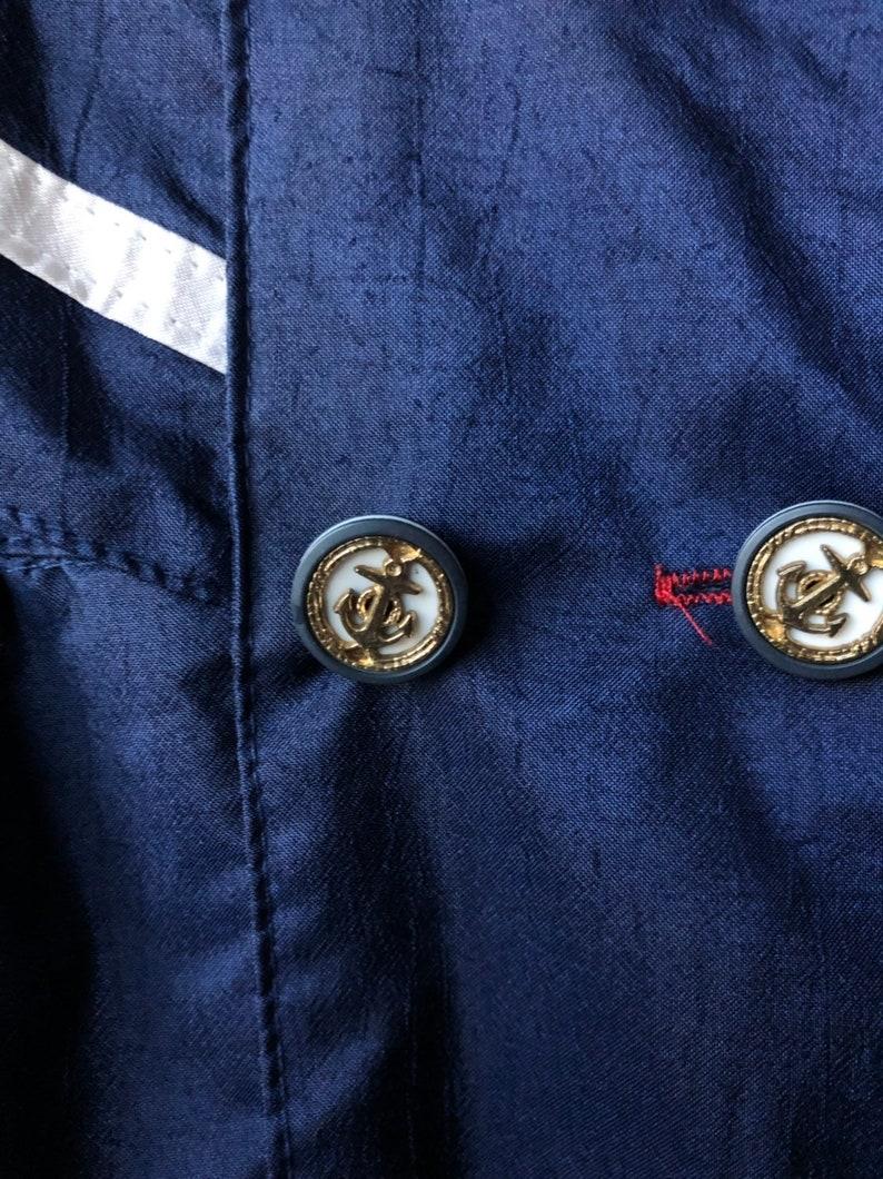polka dot lined 80s 90s Vintage Girls Raincoat toddler coat Rothschild sz S 4 4T hooded midi navy blue white nautical anchor buttons