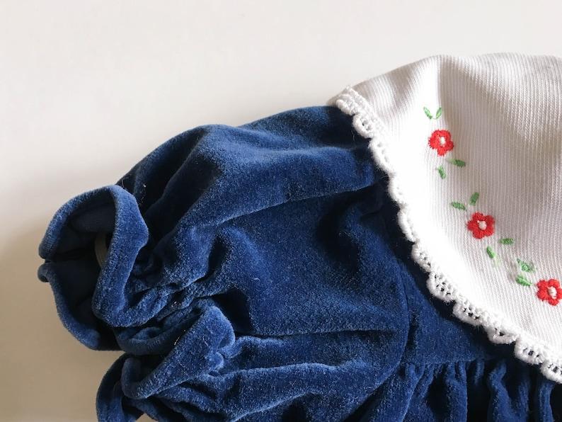 infant sz 6-9 mo 6M 9M cotton velveteen retro swing top Vintage Christmas baby puffy short sleeve Baby velvet dress navy blue 80s 90s