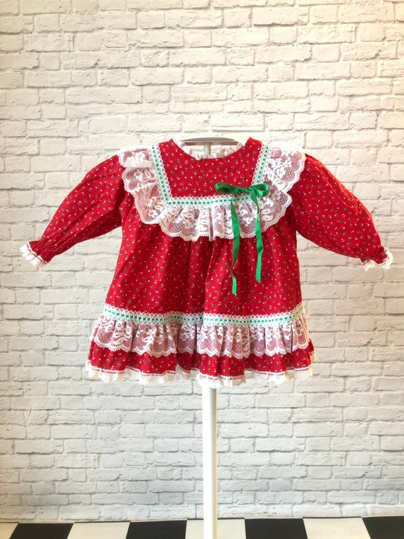 Vintage dress, Red Christmas, pinafore, Bryan, lac