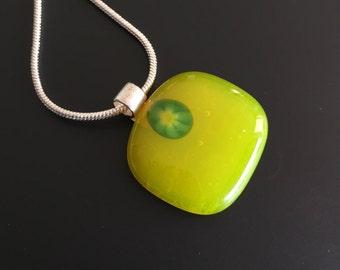 Glass Jewelry-Glass pendant-Necklace-pendant-chain-jewelry-Gift woman-Kette-Schmuck Frau-glass-gift women-glass jewellery-Italian glass lime