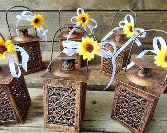 Set Of 10 Rustic Wedding Lanterns Moroccan Lantern Centerpiece Sunflower Mini Candle Holders Gift Idea