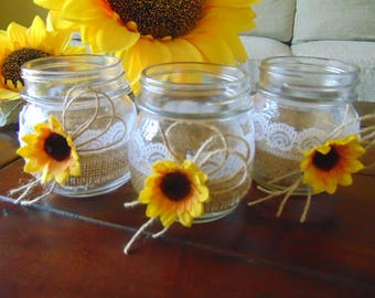 Rustic Wedding Burlap Jars Lace And CenterpieceRustic CenterpieceSunflower Candles