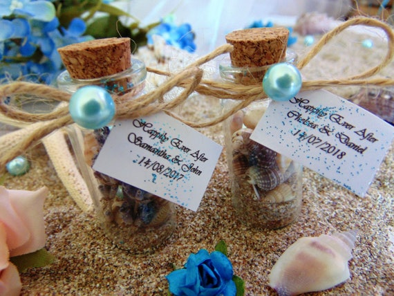 Personalised Wedding Gifts For Guests: Wedding Favors,Beach In A Bottle