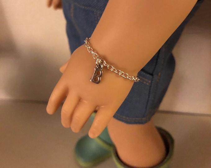 "Silver Initial Charm Bracelet for 18"" Dolls American Girl"