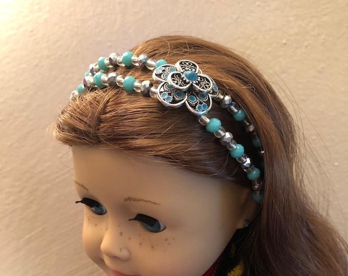 Turquoise Flower Double Strand Beaded Headband for American Girl 18 inch Dolls