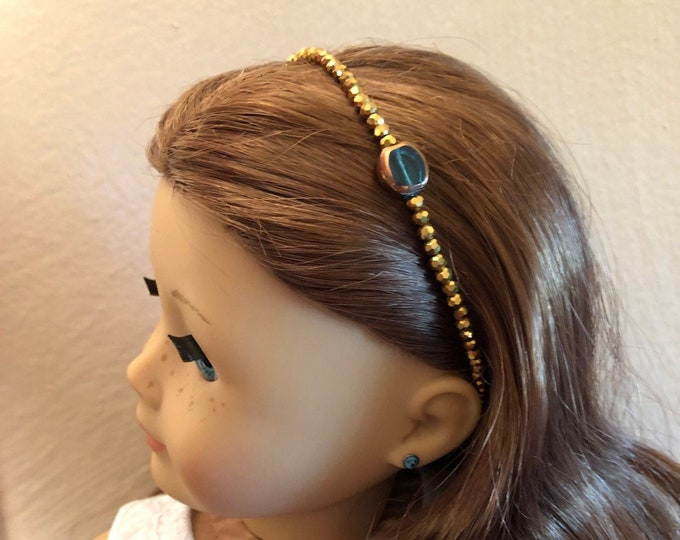 Emerald & Gold Beaded Circlet Headband for American Girl 18 inch Doll Jewelry