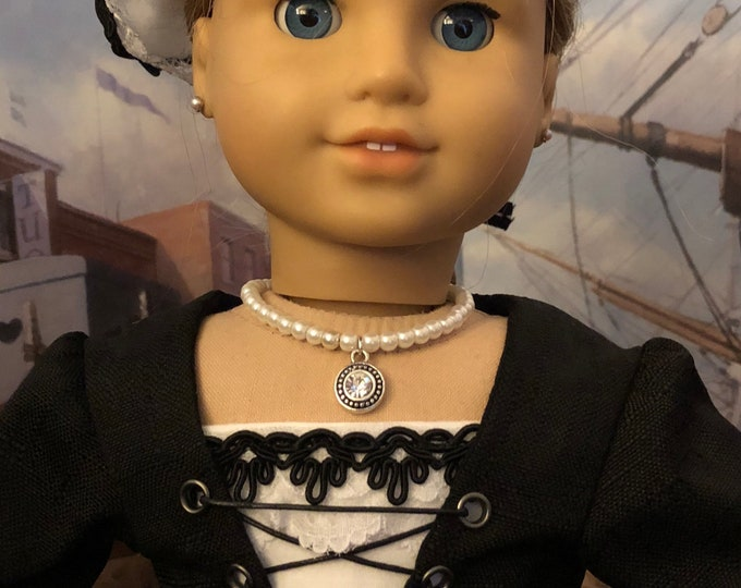 Pearl & Diamond Pendant Necklace for American Girl Dolls