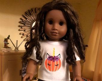 Halloween Pumpkin Unicorn Tshirt for 18 Inch American Girl Dolls