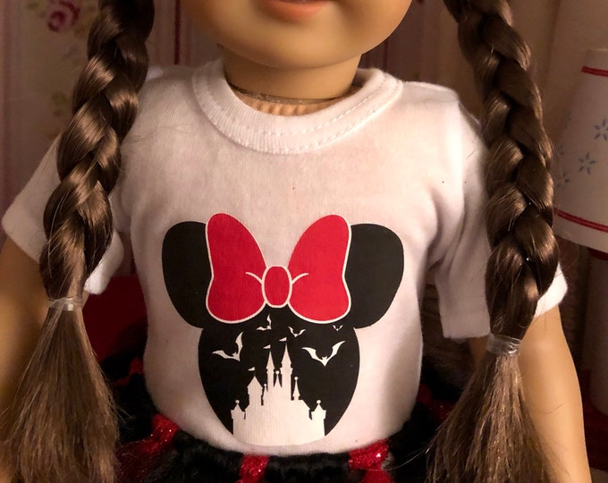 Minnie Mouse Bat Castle Halloween Doll Tshirt for American Girl Dolls