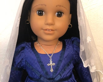 Silver Cross Crucifix Necklace Jewelry for 18 inch American Girl Dolls