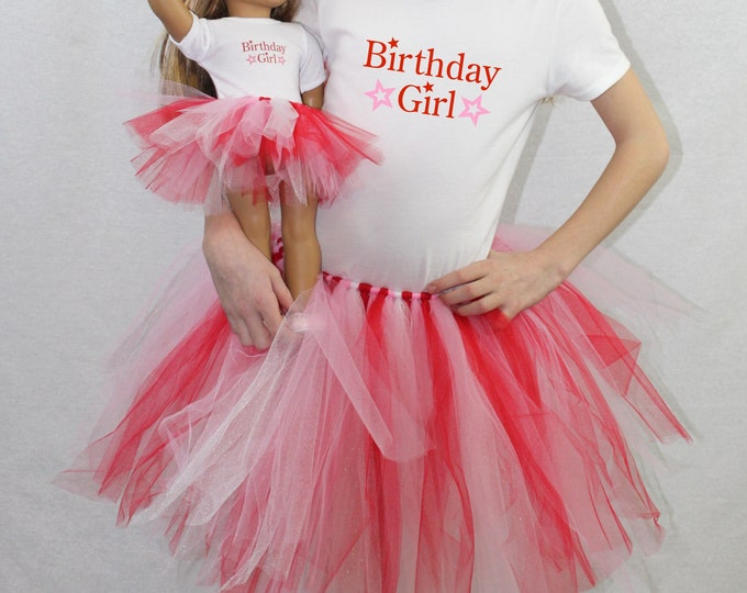 Star Birthday Girl Matching Girl & Doll Tshirt and Tutu Sets