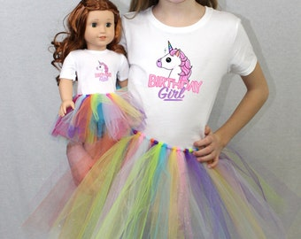 "Rainbow Unicorn Birthday Girl Matching Girl and Doll Tshirt and Tutu Sets for 18"" & 14"" American Girl Dolls"