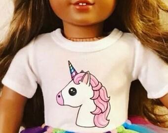 Unicorn T-shirt for 18 inch American Girl Dolls