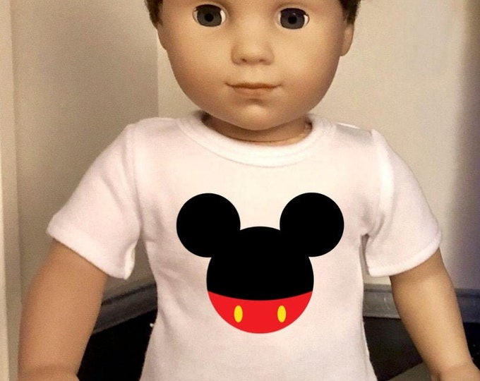 Mickey Ears Doll Tshirt for American Girl Doll Logan