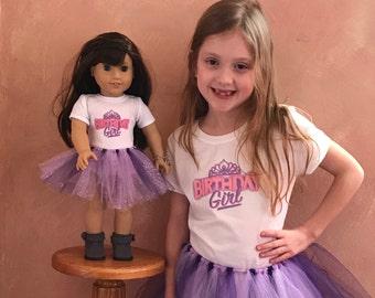 "Birthday Girl Matching Girl & Doll Tshirt and Tutu Sets for 18"" American Girl Dolls"