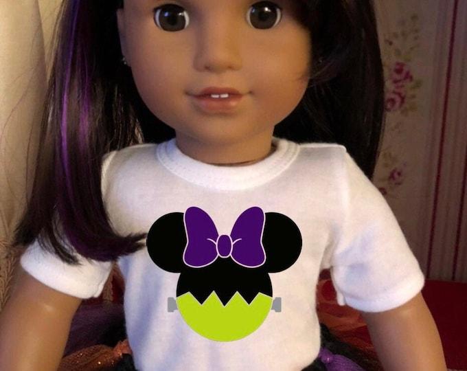 Minnie Mouse Ears Frankenstein Halloween Doll Tshirt for American Girl Dolls