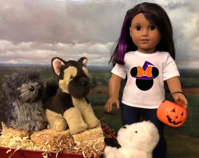 Minnie Mouse Ears Witch Hat Halloween Doll Tshirt for American Girl 18 Inch Dolls & Wellie Wishers
