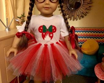Christmas Mouse Ears Castle Tshirt & Tutu for American Girl Dolls