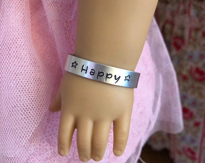 """Silver Cuff Bracelet Metal Stamped """"Happy"""" for American Girl Dolls"""