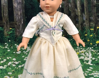 Custom Outlander Inspired Briana Fraser McKenzie Wedding Dress for 18 Inch American Girl Dolls