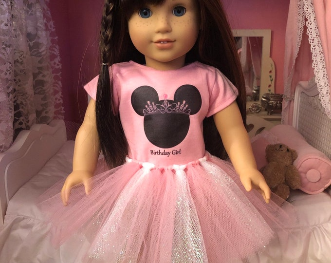 Birthday Girl Minnie Mouse Tiara Mouse Ears Tshirt & Tutu