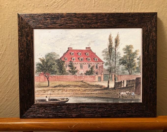 Framed Colonial Dollhouse Canvas Art for American Girl Doll Houses