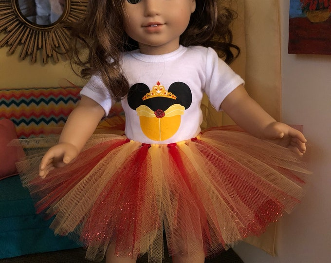 Belle Mouse Ears Tshirt & Tutu for American Girl Dolls