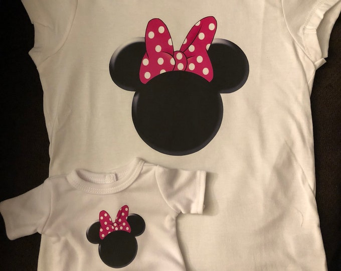 Girl & Doll Matching Pink Bow Mouse Ears Tshirts