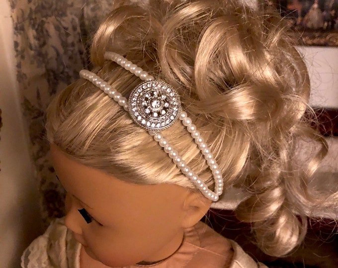 Pearl Double Strand Diamond Embellished Headband for American Girl 18 inch Dolls
