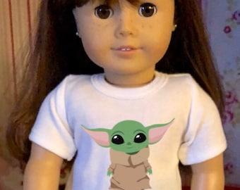 Baby Yoda Standing The Child Mandalorian Star Wars Tshirt for American Girl Dolls