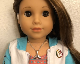 Silver Whale Tail Necklace for 18 inch American Girl Doll of the year 2020 Joss Kendrick