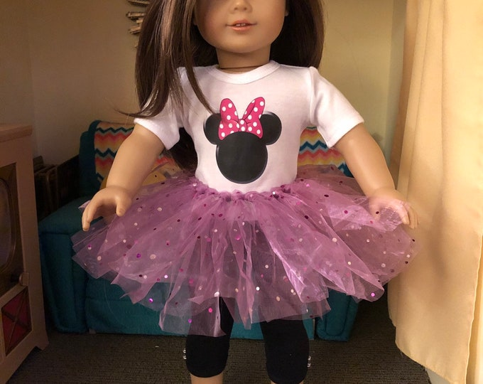 Mouse Ears Polka Dot Tshirt & Tutu for American Girl Dolls