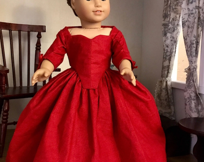 MADE  TO ORDER: Claire Fraser's Red Outlander Dress for 18 inch American Girl Dolls