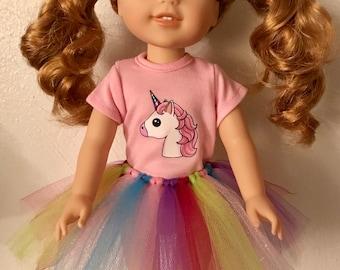 Unicorn Tshirt & Tutu for Wellie Wisher Dolls