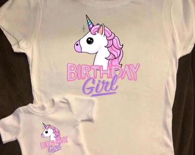 Girl & Doll Matching Unicorn Birthday Shirts