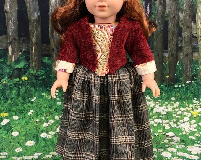 1770's Outlander inspired Brianna Randall Fraser Mackenzie jacket and petticoat for American Girl Dolls