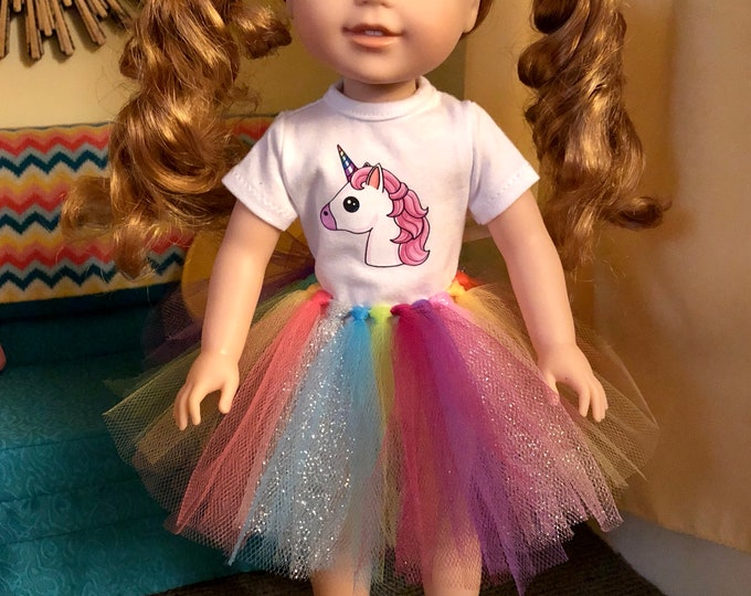 Unicorn Tshirt & Tutu for Wellie Wisher Dolls