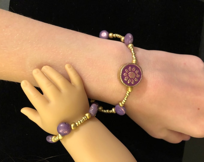 Purple Beaded Girl & Doll Matching Bracelets for American Girl 18 inch Dolls