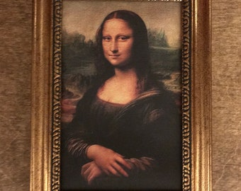 Framed Mona Lisa Dollhouse Art for American Girl