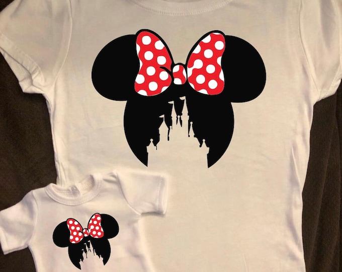 Girl & Doll Matching Minnie Castle Ears Tshirts