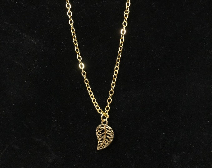 Gold Leaf Charm Necklace for American Girl Dolls