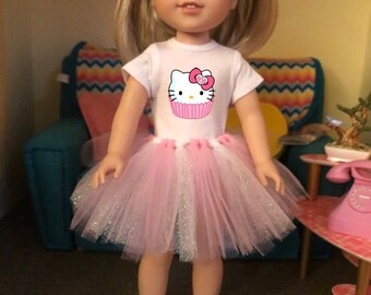Hello Kitty Tutu Outfit for Wellie Wisher Dolls