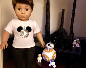 Mouse Ears Star Wars BB8 Doll Tshirt for American Girl Doll Logan