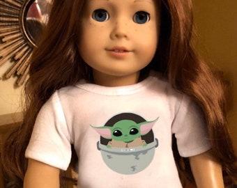Baby Yoda The Child Mandalorian Tshirt for American Girl Dolls