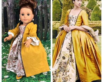 Custom Outlander Claire Fraser 18 Inch Doll and Gold Dress