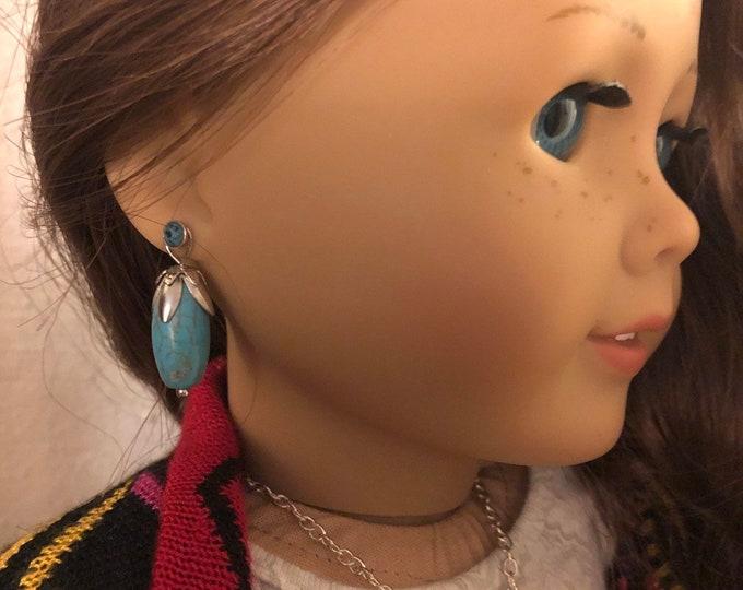 Turquoise Bead Earring Dangles for 18 inch American Girl Dolls