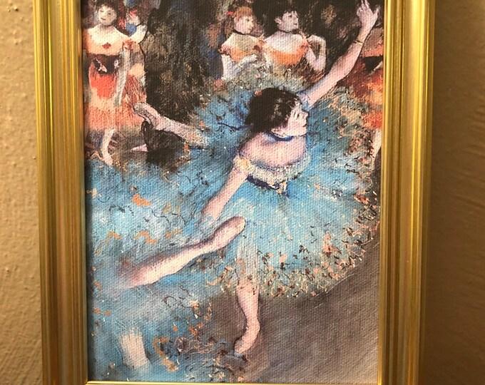 Framed Ballerina in Blue Canvas Printer Dollhouse Art for American Girl
